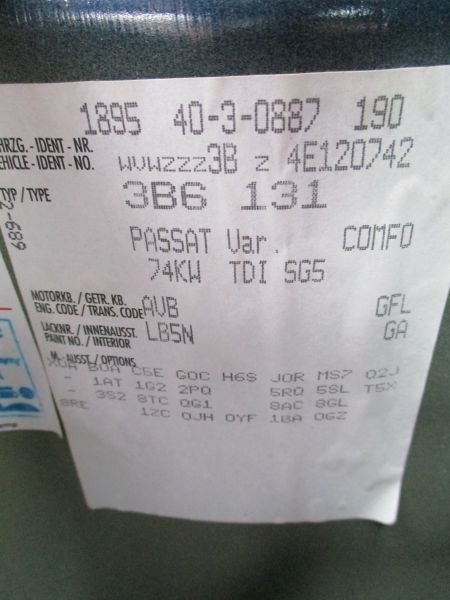 VW PASSAT VARIANT (3B6) 1.9 TDI