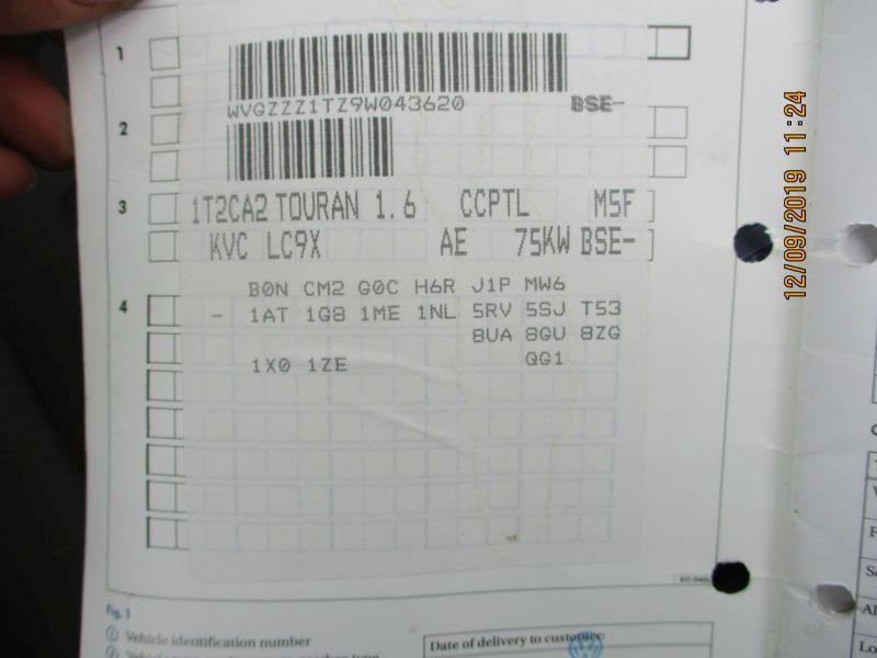 VW TOURAN (1T1, 1T2) 1.6